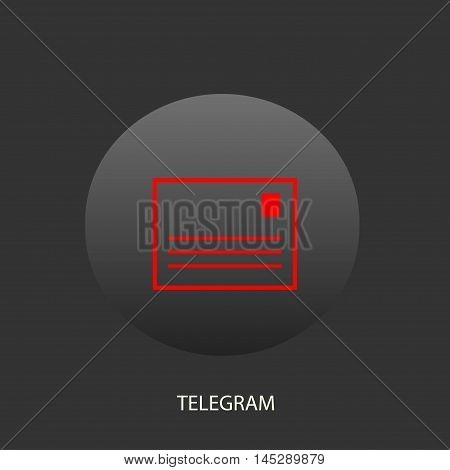 Illustration on which the telegram icon against a dark background is represented
