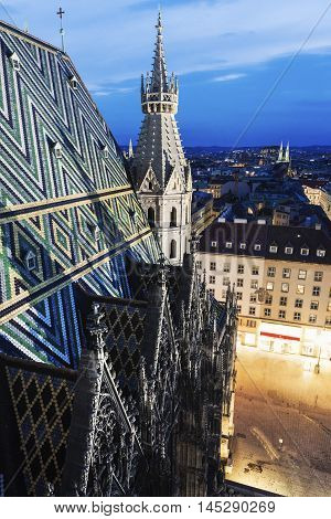 Roof of St. Stephen's Cathedral in Vienna. Vienna Austria.