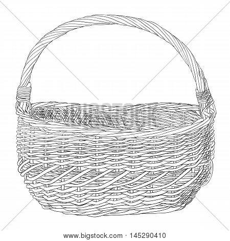 Vector Sketch Of Wicker Basket