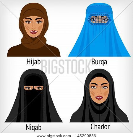 Muslim women in traditional headwear. vector illustration - eps 8