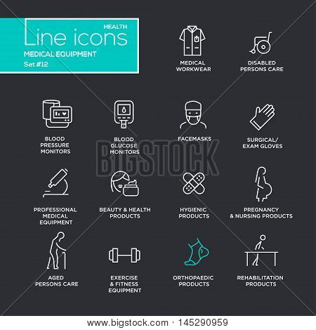 Medical equipment - set of modern vector plain simple thin line design icons and pictograms on black background. Medical workwear, blood pressure monitor, beauty, pregnancy, orthopaedic product