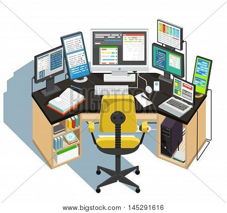 Programmer workplace on white background. Vector illustration