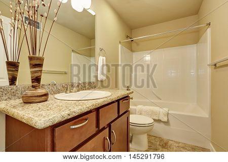 Elegant Bathroom With An Alcove Tub And Beige Walls.