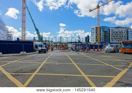 Cardiff United Kingdom Wales - August 26 2016: Development on the site of the old bus station in Cardiff City Wales United Kingdom. In the background Cardiff Central train station.