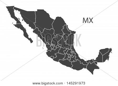 Mexico map with federal states grey vector isolated high res