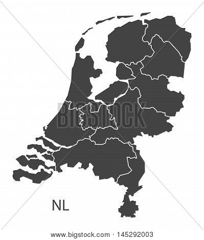 Netherlands map with provinces grey vector isolated high res