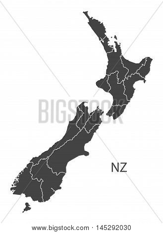New Zealand map with states grey vector isolated high res