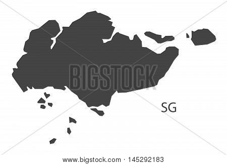 Singapore map grey vector isolated high res