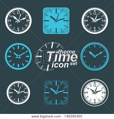 Simple vector wall clocks with stylized clockwise. Business time idea classic graphic symbols collection.