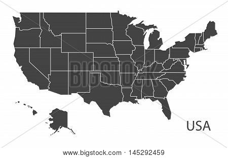 United states of America map with states grey vector isolated high res