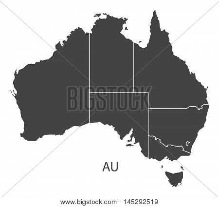 Australia map with states grey vector isolated high res