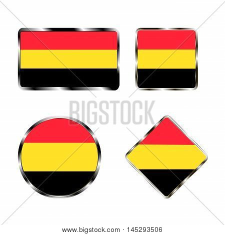 Vector illustration of logo for the country of Belgium.Isolated in the drawing consists of flag chrome frame contingent European design on a white background.Badge for government states atlas map