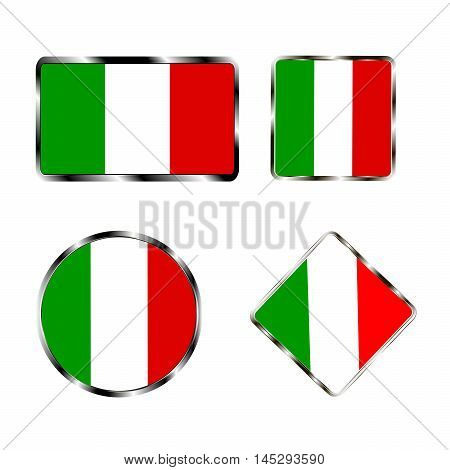 Vector illustration of logo for the country of Italy. Isolated in the drawing consists of flag chrome frame contingent European design on a white background. Badge for government states atlas map
