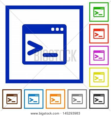 Set of color square framed command prompt flat icons