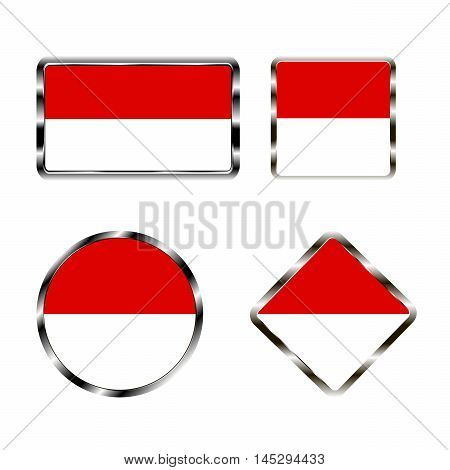 Vector illustration of logo for the country of Monaco. Isolated in the drawing consists of flag chrome frame contingent European design on a white background. Badge for government states atlas map