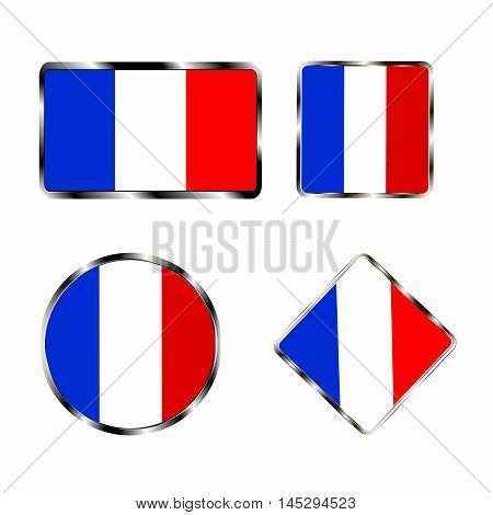 Vector illustration of logo for the country of France. Isolated in the drawing consists of flag chrome frame contingent European design on a white background. Badge for government states atlas map