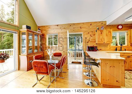 House Interior With Vaulted Ceiling And Open Floor Plan