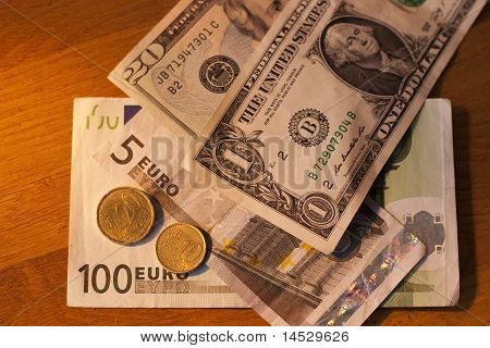 Euro and Dollars.