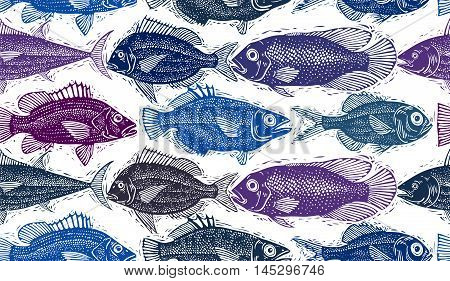 Freshwater vector fish endless pattern art nature and marine theme seamless tiling.