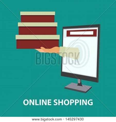 Hand delivers boxes with the purchased goods out from monitor. E-commerce online shopping internet shopping concept in flat style. Vector illustration easy to edit