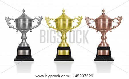 Gold Silver and Bronze trophy isolated white background. use clipping path