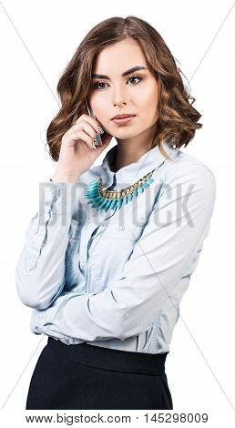 Beautiful young woman speak on the phone isolted on white