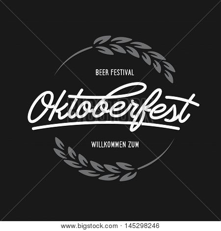Oktoberfest beer festival typography emblem. Beer related lettering. Hand crafted design elements for prints posters advertising. Vector vintage illustration.