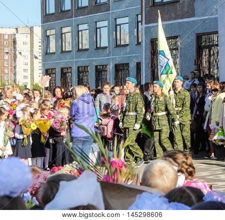St. Petersburg, Russia - 1 September, Delivery of the flag of the Lyceum,1 September, 2016. School holiday the Day of Knowledge.