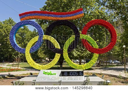 YEREVAN, ARMENIA - AUGUST 23, 2016:Olympic rings made of flowers in the central park of the city of Yerevan,Armenia.