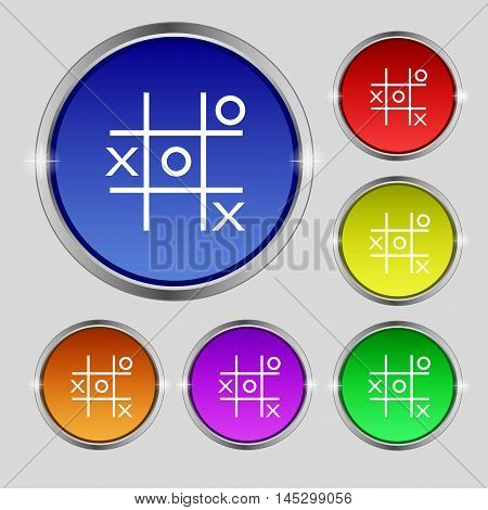 Tic Tac Toe Game Vector Icon Sign. Round Symbol On Bright Colourful Buttons. Vector