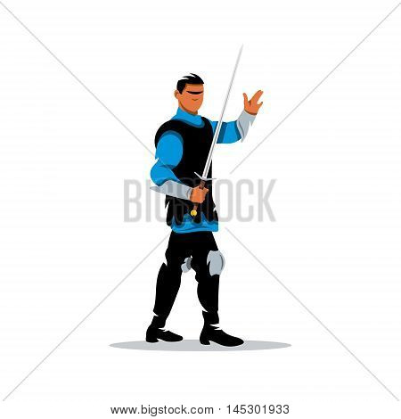 Crusader with sword. Isolated on a white background