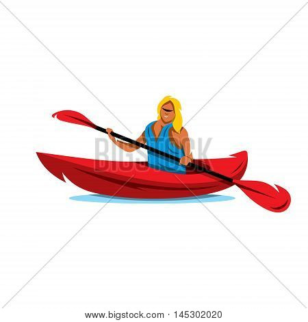 Girl with a double paddle boat. Isolated on a white background