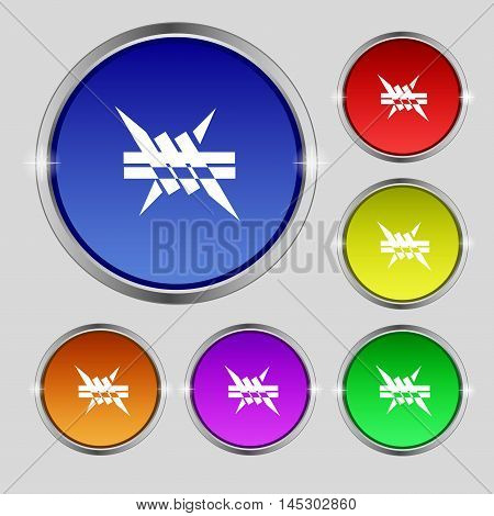 Barbed Wire Icon. Sign. Round Symbol On Bright Colourful Buttons. Vector