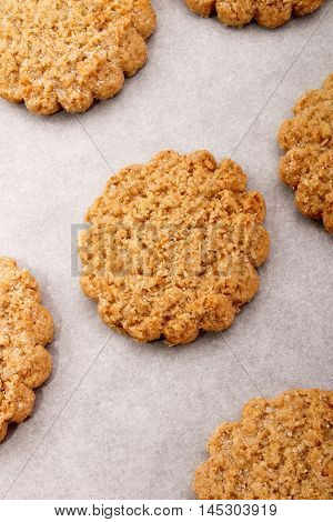 freshly baked warm scottish oatmeal biscuit on white kitchen paper