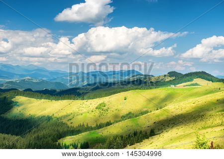 Green Sunny Valley In Mountains