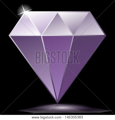 Illustration purple diamond as a symbol on a black background.