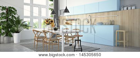 3d rendering. kitchen and living room of loft apartment