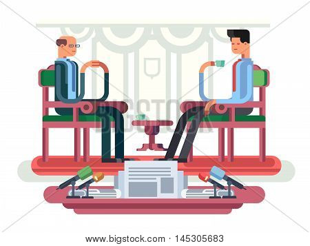 Politician interview flat design. Media tv, journalist or reporter, communication and government, vector illustration