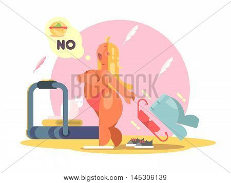 Fat lady refuses to eat food for weight loss. Vector illustration