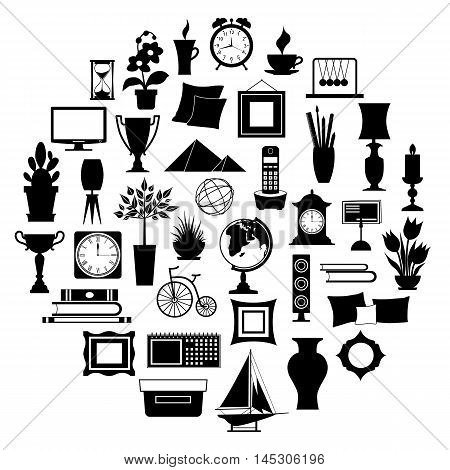 Silhouette of home decor. Set of accessories icons and souvenirs isolated on white background. Vector illustration. Elements of interior design.