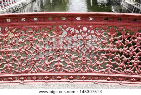 the very strong bridge railing made from curved steel