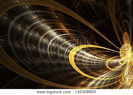 Dark labyrinth. Shining traces on black background. Creative fractal design in yellow brown and white colors.