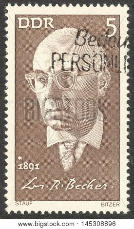MOSCOW RUSSIA - CIRCA AUGUST 2016: a stamp printed in DDR shows a portrait of Johannes Robert Becher the series
