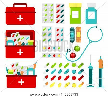 Multicolored vector set of pills and bottles in medicine chest. Set of first aid kit boxes. Stethoscope, syringes, tablets, adhesive plaster