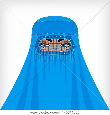Muslim woman in blue burqa. vector illustration - eps 8