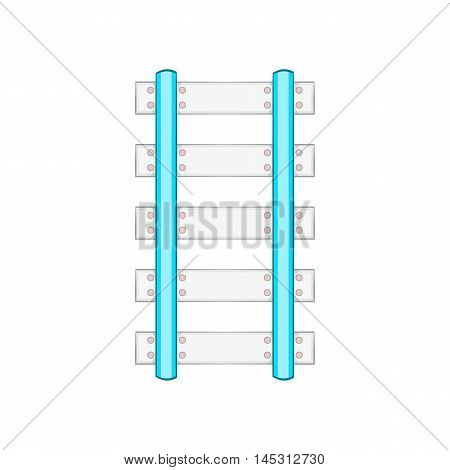 Rails and sleepers icon in cartoon style isolated on white background. Way symbol