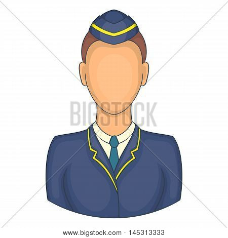 Woman train conductor icon in cartoon style isolated on white background. Job symbol