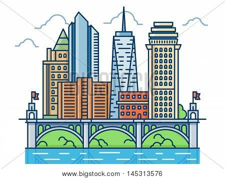 Abstract modern district with skyscrapers and bridge. Modern buildings, waterfront cityscape vector illustration.