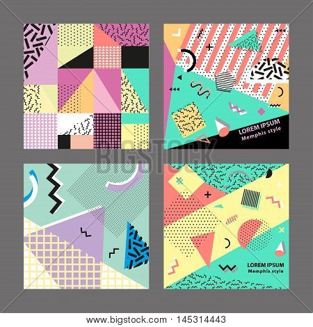 poster of Retro vintage 80s or 90s fashion style. Memphis cards. Trendy geometric elements. Modern abstract design poster, cover, card design. Vector illustration. Big set.