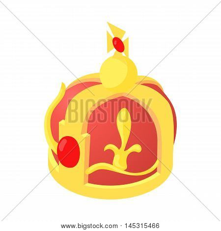 Crown king icon in cartoon style isolated on white background. Headdress symbol